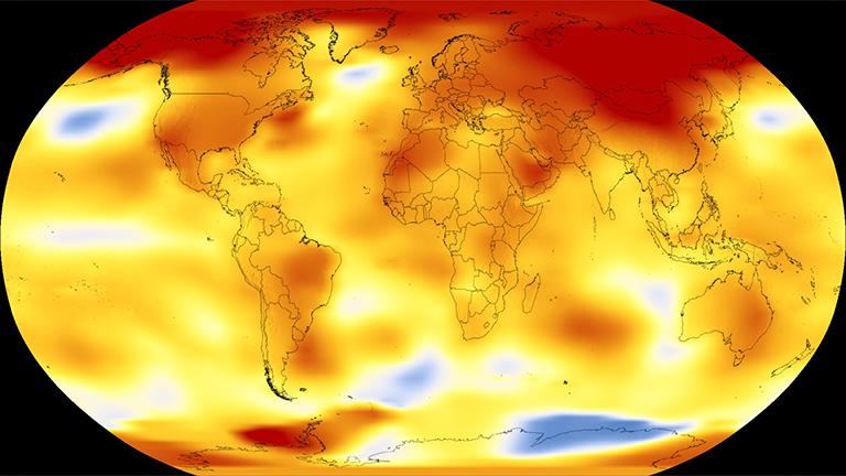 Riscaldamento globale: l'anomalia delle temperature globali nel 2017. Fonte NASA's Scientific Visualization Studio