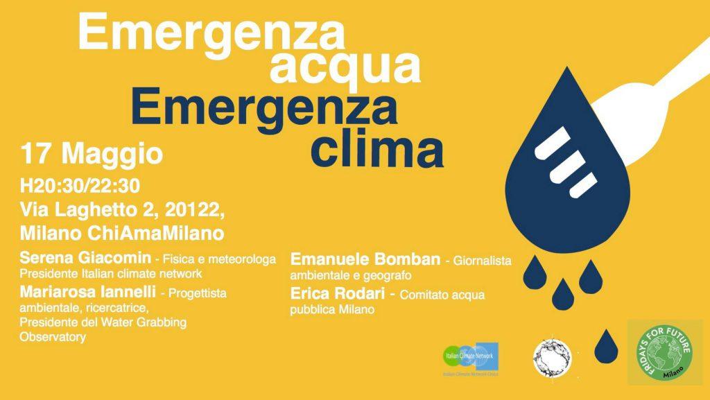 emergenza acqua emergenza clima