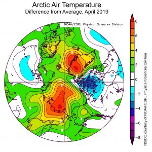 Temperatura dell'Artico, aprile 2019