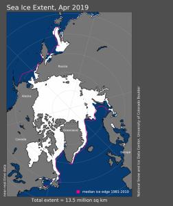 Estensione dei ghiacci artici, aprile 2019