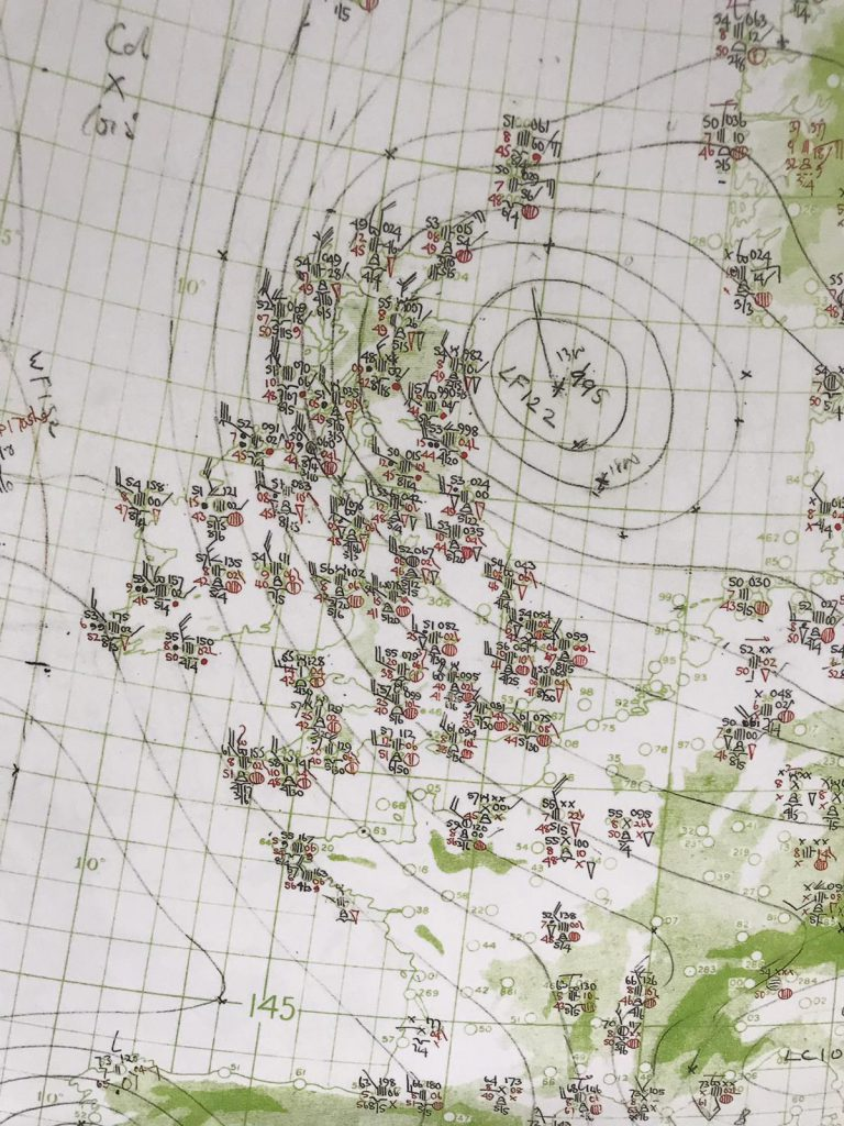 Mappa meteo del 6 giugno 1944. Crediti: MetOffice