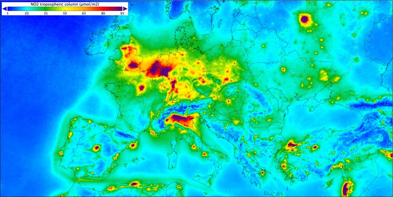 protocollo aria pulita. Mappa concentrazioni inquinamento biossido di azoto