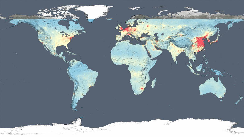 no2 qualità dell'aria mondo nasa