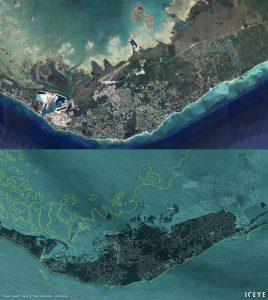Le Bahamas dopo il passaggio dell'uragano Dorian Google earth - Iceye Satellite