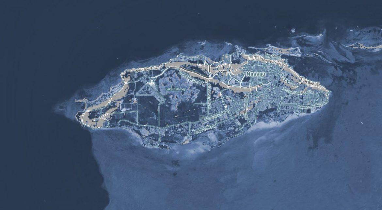 Zone allagate sull'isola di New Providence, Nassau (Bahamas) con un aumento della temperatura di 3 gradi. Fonte Climate Central