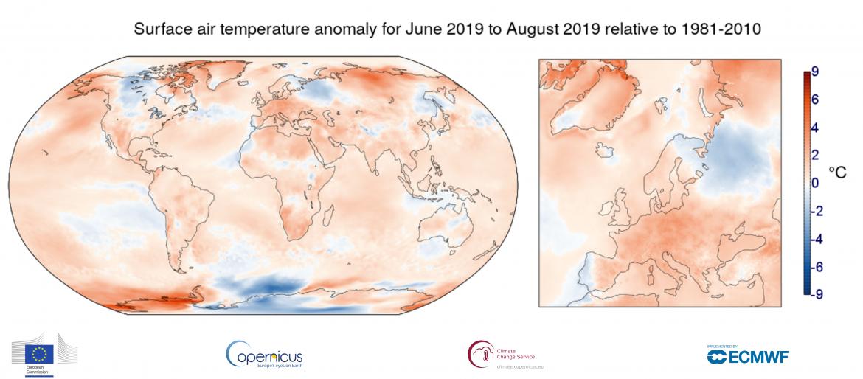 Estate 2019, anomalie globali