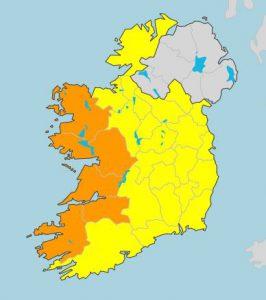 Allerta arancione in Irlanda per l'arrivo di Lorenzo. Fonte met.ie