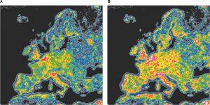 inquinamento luminoso mappa