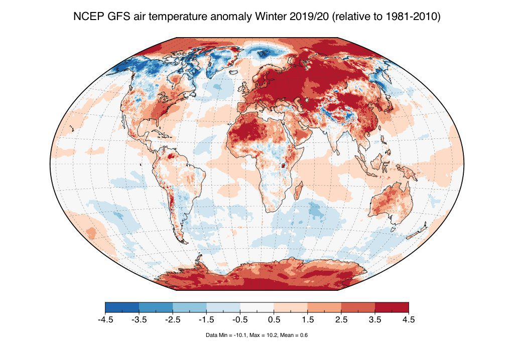 inverno 2019-2020 anomalie europa