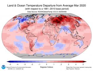 Anomalia delle temperature globali di marzo 2020. Fonte NOAA
