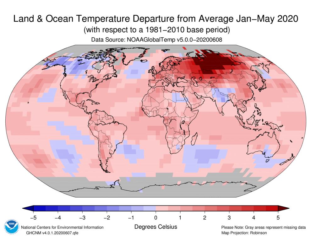 temperature gennaio - maggio 2020