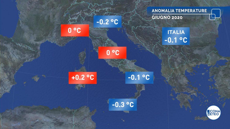 clima giugno anomalia temperature