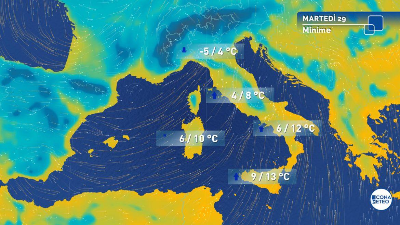 meteo martedì temperature
