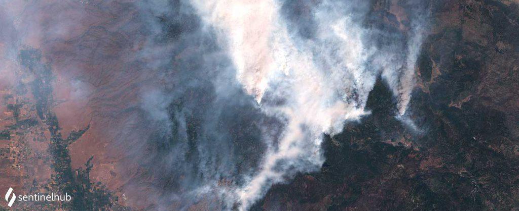 Dixie fire in California. Foto del satellite Sentinel-2