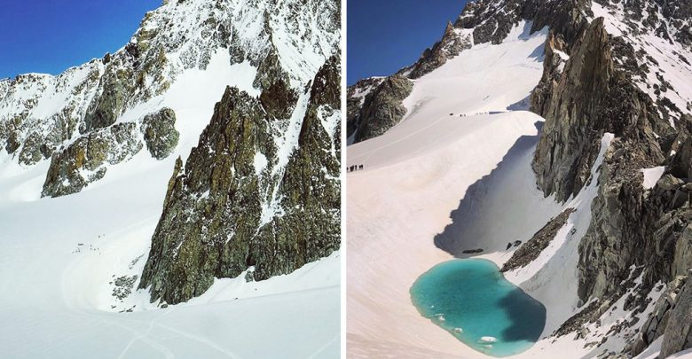 lago monte bianco ghiacciaio