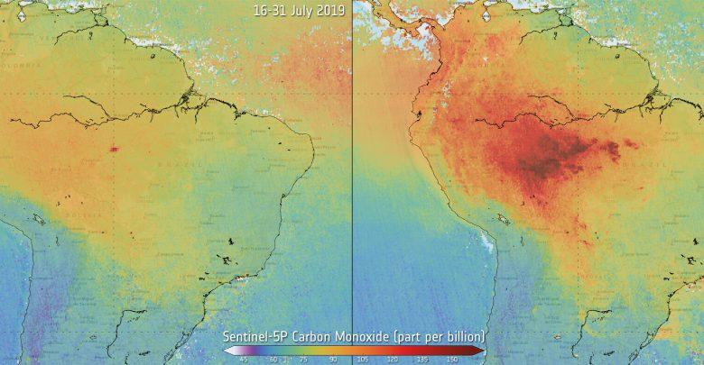 Monossido di carbonio prima e dopo gli incendi in Amazzonia.