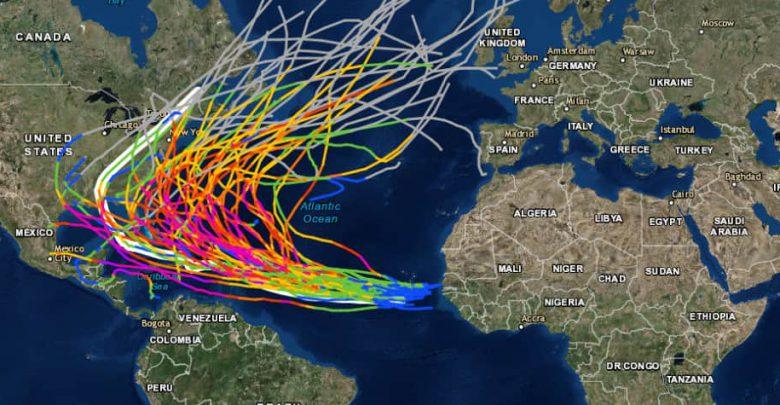 La traiettoria degli uragani atlantici di categoria 4 e 5 tra il 1851 e il 2016. Fonte NOAA