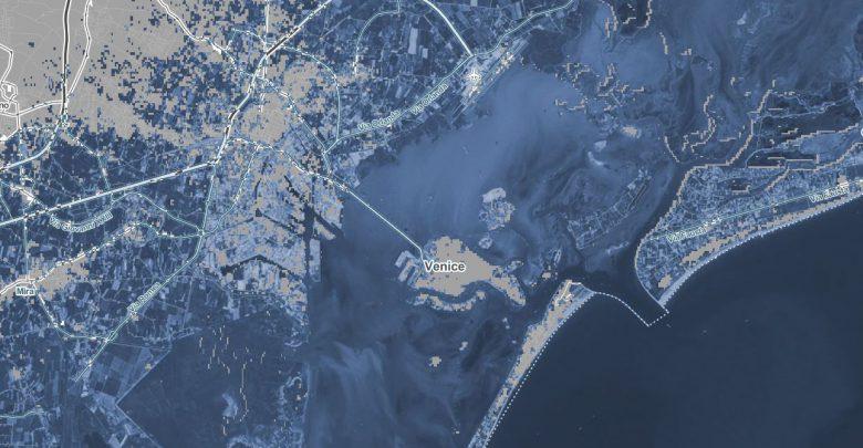 Zone allagate a Venezia con un aumento della temperatura di 2 gradi. Fonte Climate Central