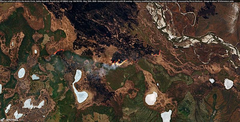 Incendi in Siberia. Foto Copernicus Sentinel del 18 maggio 2020, elaborata da Pierre Markuse