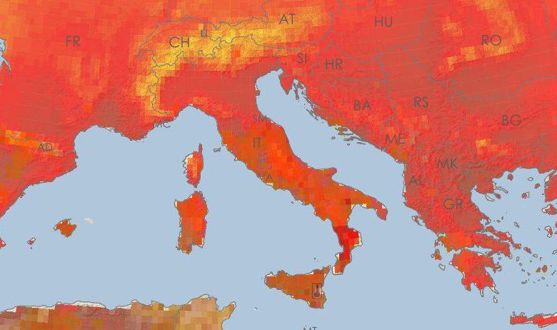 Mappa temperature massime e ondate di caldo il giorno 11 agosto 2021. Fonte European Drought Observatory (JRC-EC)